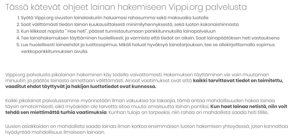Lue ohjee ja hae lainaa Vippi.org sivulta